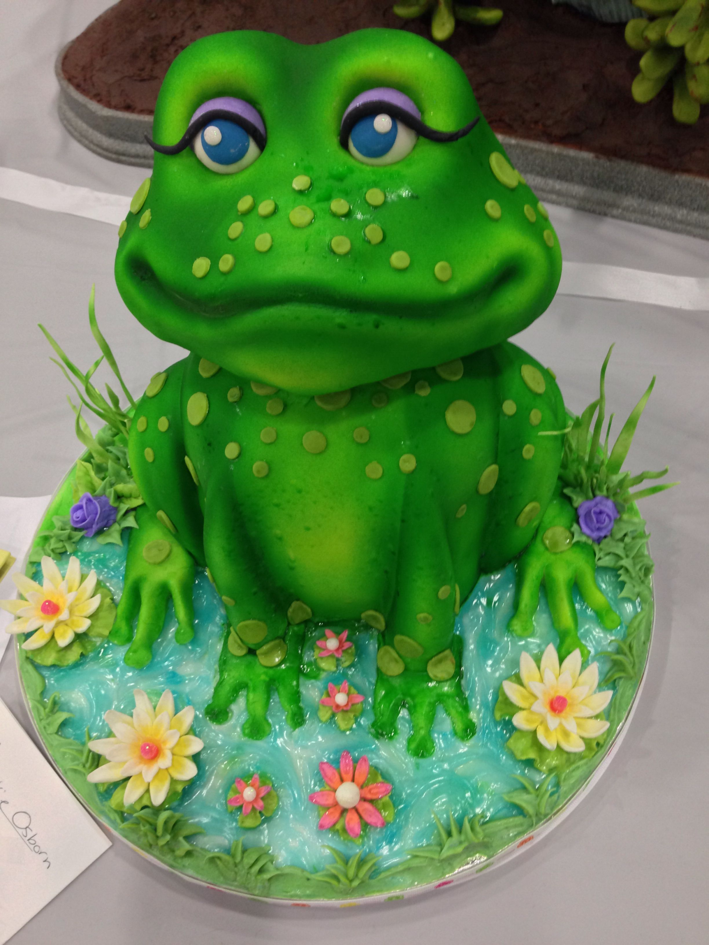 Fantastic Birthday Cake My Sis Loves Frogs With Images Frog Cakes Cute Personalised Birthday Cards Epsylily Jamesorg