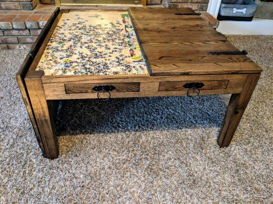 Fold Open Barnwood Coffee Table For Crafts And Puzzles Etsy