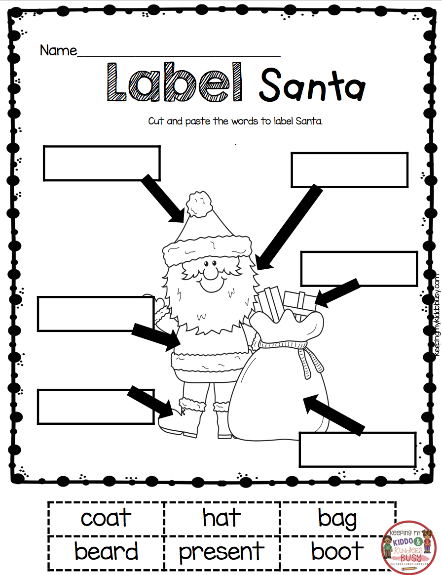 December Math and Literacy Pack - FREEBIES! — Keeping My Kiddo Busy   Christmas  worksheets kindergarten [ 1164 x 896 Pixel ]