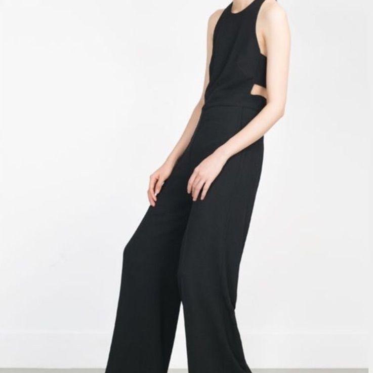 84de8b86704 Nwt Zara M Wide Leg Jumpsuit With Cut About Back