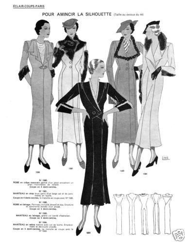 1934 Fall Eclair Coupe Paris Pattern Book Reprint Suits Hats Evening Gowns | eBay