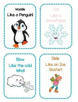 Winter Themed Gross Motor Movement Cards : Winter Themed Gross Motor Movement Cards Get your kids up and moving with these fun winter themed gross motor cards!  They will waddle like a penguin and build an igloo like an Eskimo! Early Childhood Education, Preschool, PreK, Toddler, Kindergarten, Young, Lesson Plans, Motor Skills, Physical Activity, Movement, Printable, Activity, Winter, Cold Weather  #Winter #Themed #Gross