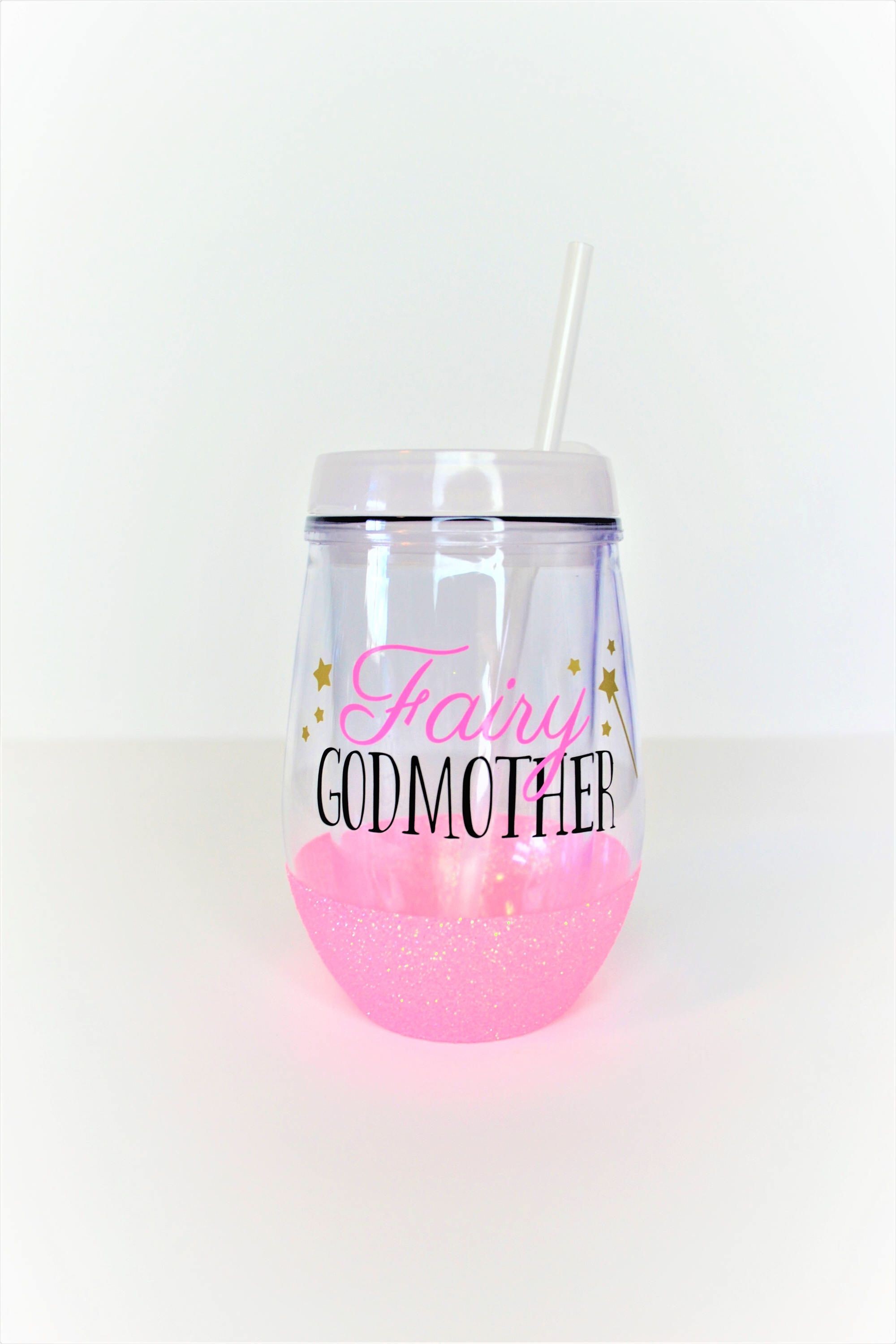 Fairy Godmother Wine Tumbler Glitter Godmother Cup Gift For