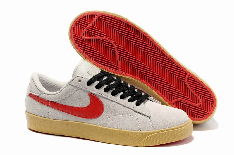 Mode Chaussure Nike Blazer Homme Low Classic Ac ND Daim Beige Rouge Export  Vente