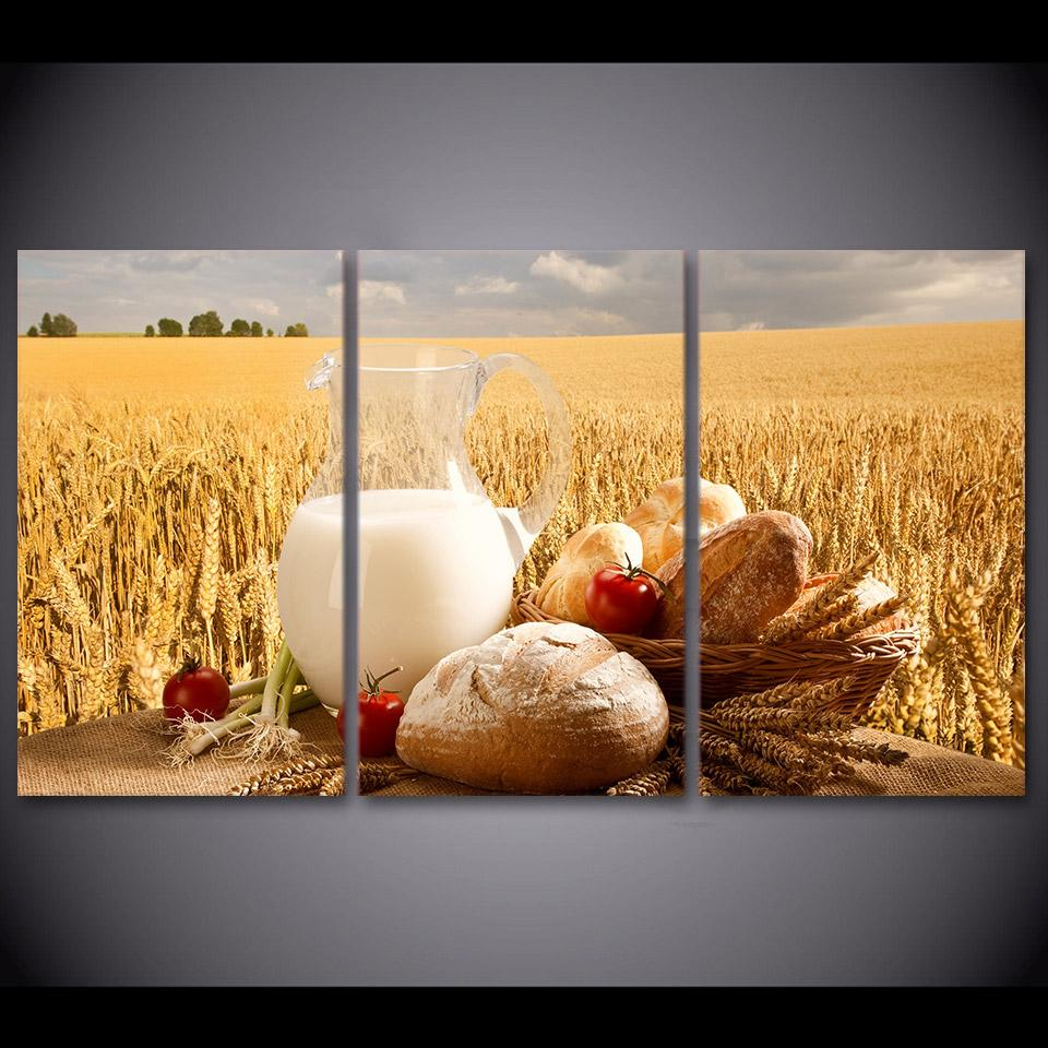 HD printed 3 piece canvas art wheat field canvas painting wall ...