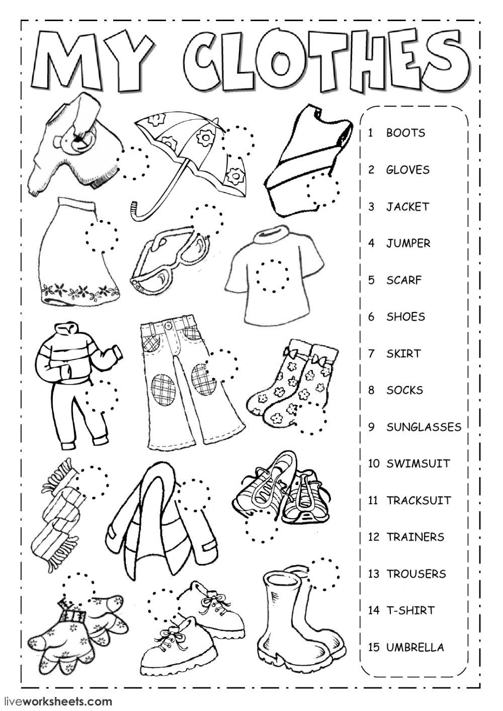 The clothes English as a Second Language (ESL) worksheet