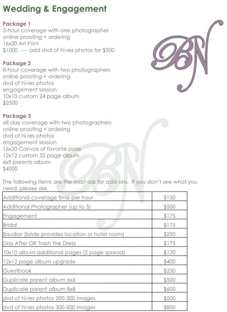 Wedding Photography Checklist Template Atlanta wedding - Price Sheet Template