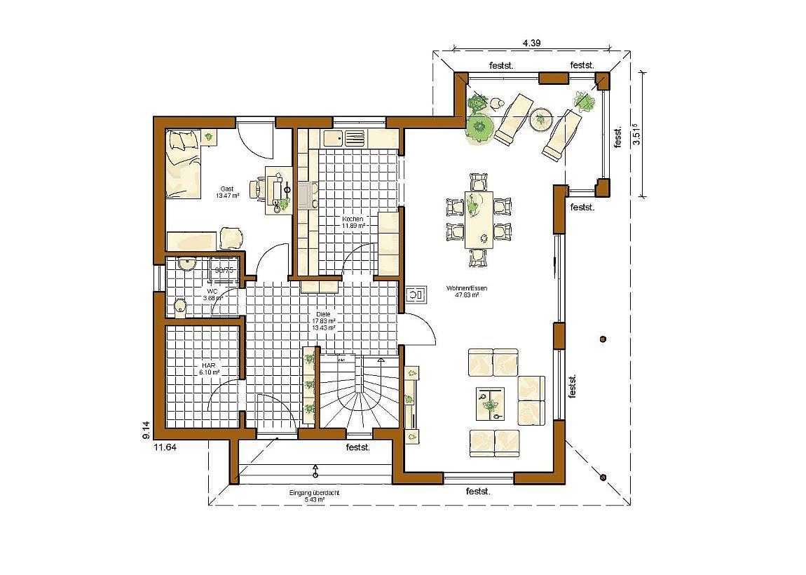 Stadtvilla 166 Grundriss Modern Mit 160 Qm Grundrisse