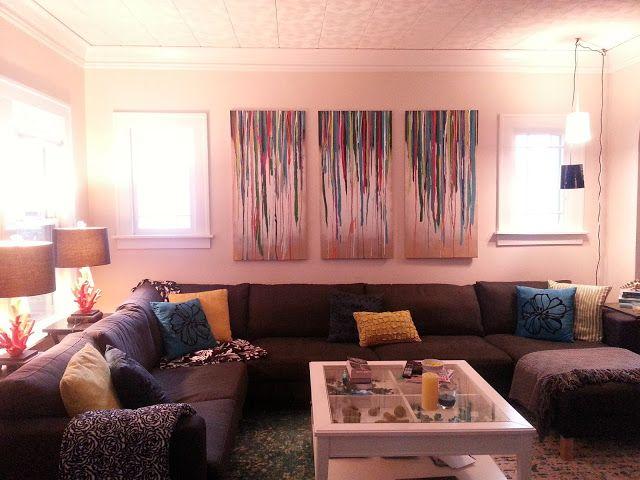 Living Room DIY Art Gallery Drip Paintings | Decorating | Pinterest ...