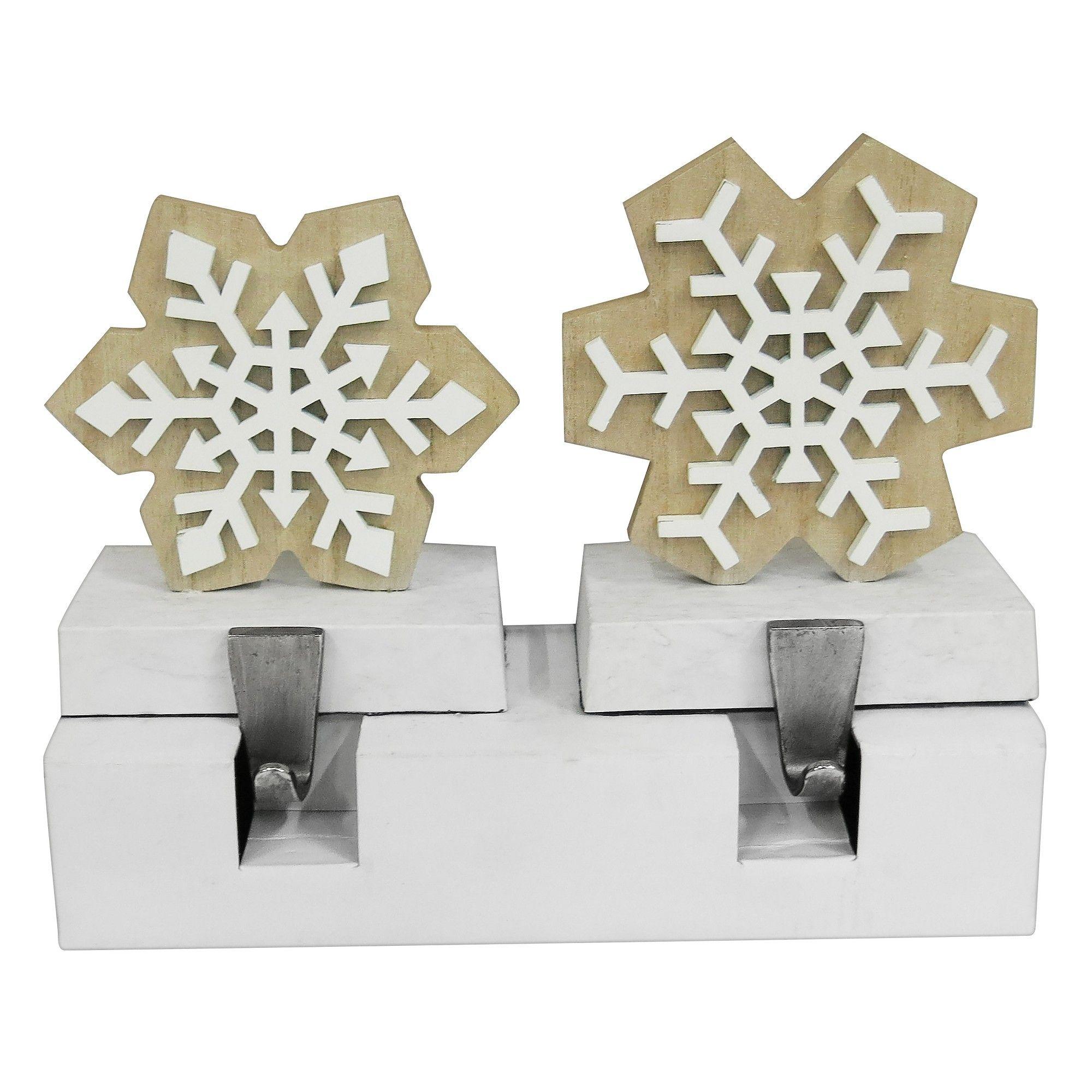 Wood Snowflake Faux Marble Base Christmas Stocking Holder