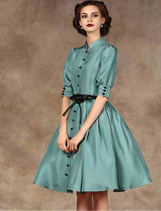1950s fashion vintage inspired style button up dress vintage en 2018 pinterest vestidos. Black Bedroom Furniture Sets. Home Design Ideas