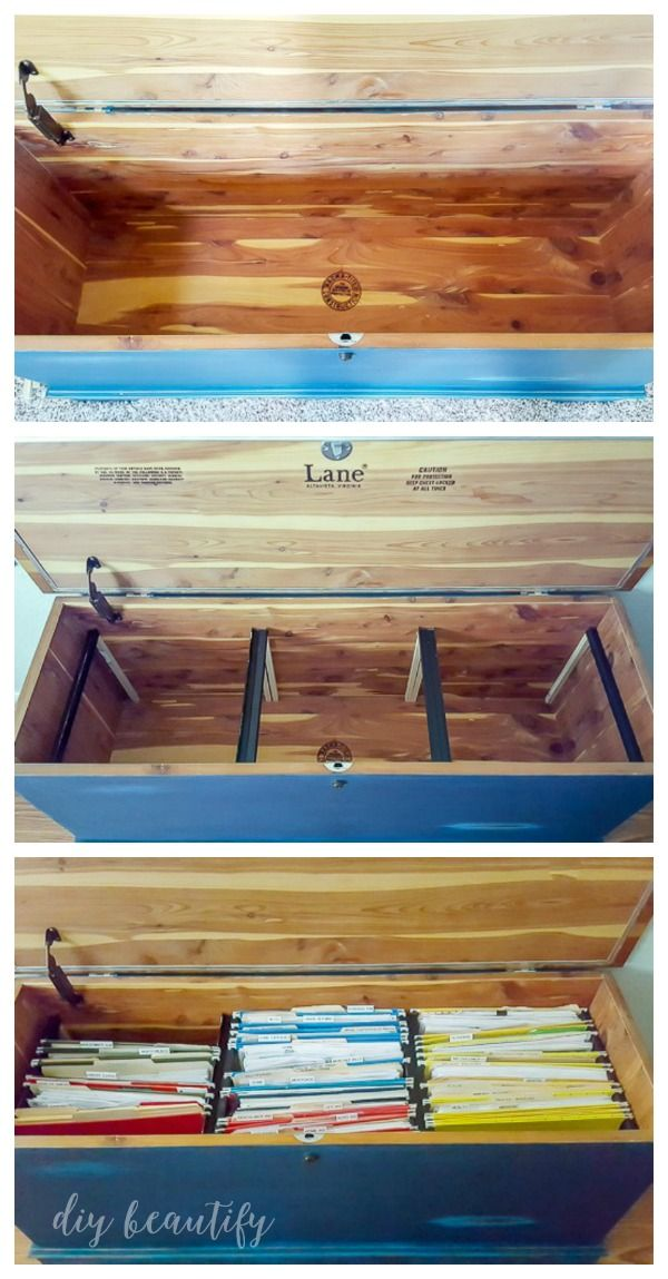 Diy Home Filing System In A Blanket Chest Or Trunk Home Filing System Easy Home Decor Home