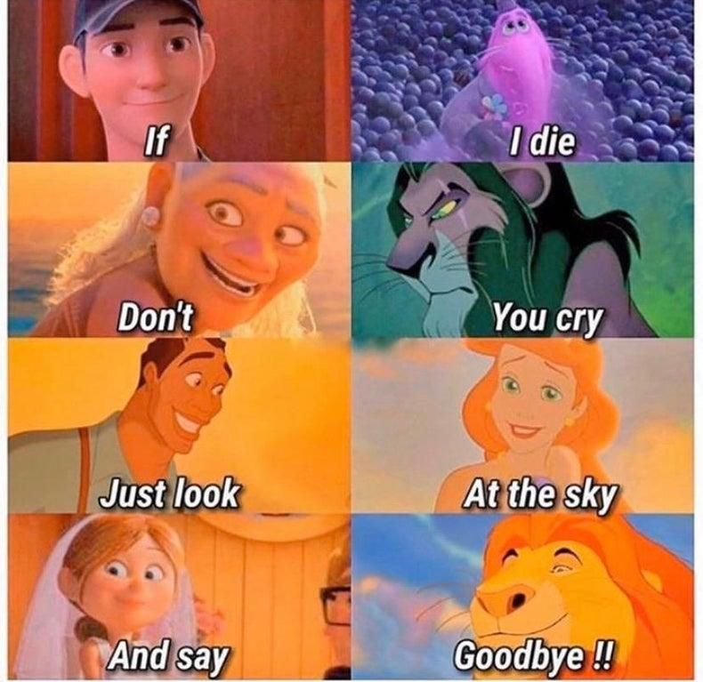 Say Goodbye If I Die Don T You Cry Just Look At The Sky And Say Goodbye Funny Disney Jokes Funny Disney Memes Disney Jokes