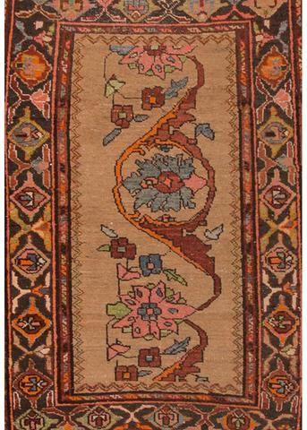 "antique Karajah rug 2'9"" x 3'11""."