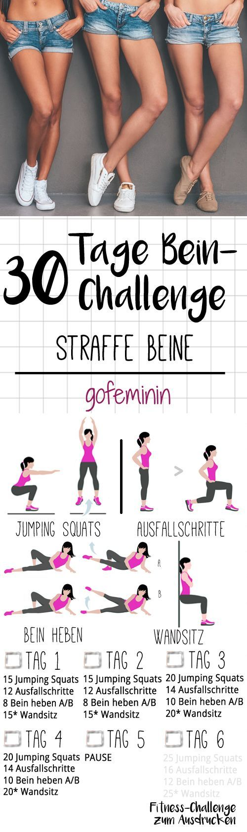 For beautiful, firm legs: the 30-day leg challenge! -  The whole challenge can be printed out on gofeminin.de. Start now with the shorts training for the  - #30day #beautiful #challenge #EasyFitness #FemaleFitness #firm #fitness #fitnessdiet #FitnessModels #FitnessMotivation #leg #legs