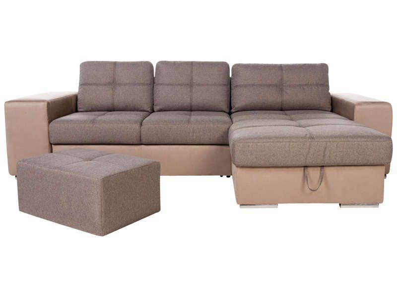 Canapé d angle convertible réversible pouf SERATA coloris brun