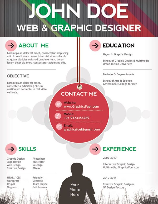 15 Free creative resume templates - Infographic Resume - completely free resume templates