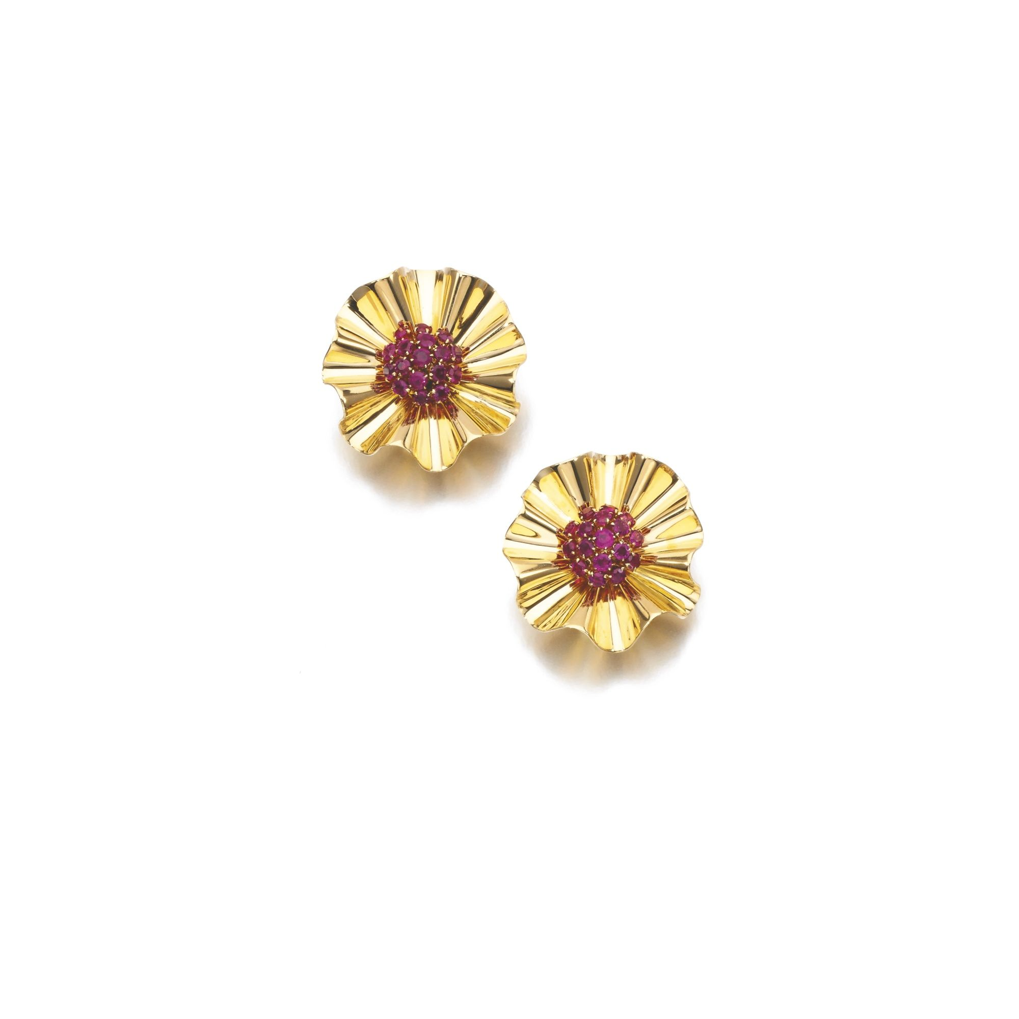 Van cleef amp arpels vca 18k yellow gold ruby cabochon amp diamond - Pair Of Ruby Dress Ear Clips Van Cleef Arpels 1940s Lot