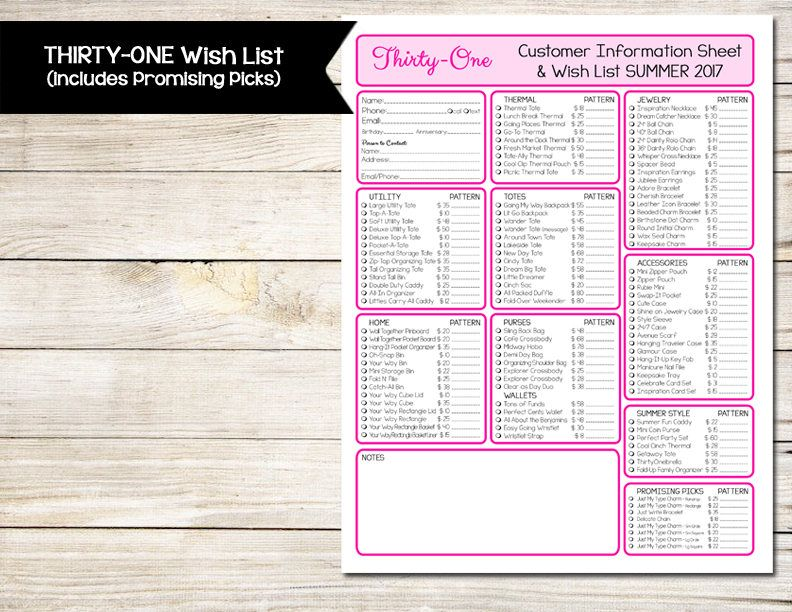 Thirty One Wish List Summer 2017 Includes Promising Picks Product Guide Customer Information Sheet Gift Suggestion By Bizzybeecreative On Etsy