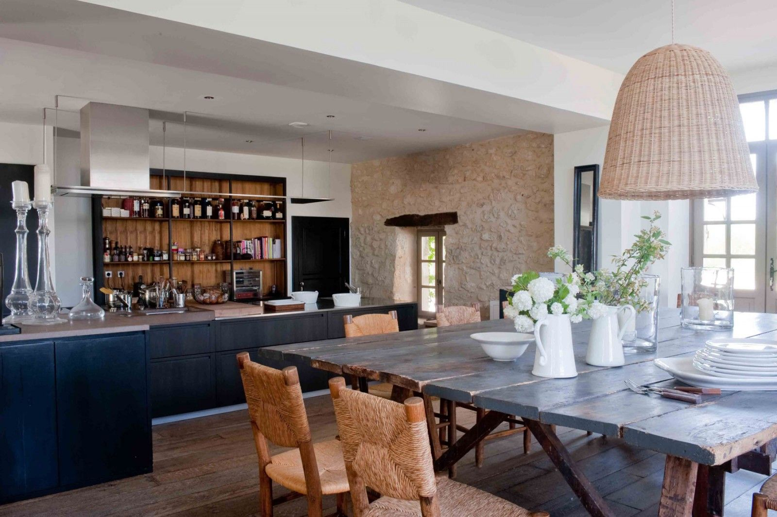 Open kitchen in a home in Gers, France designed by Sarah Lavoine
