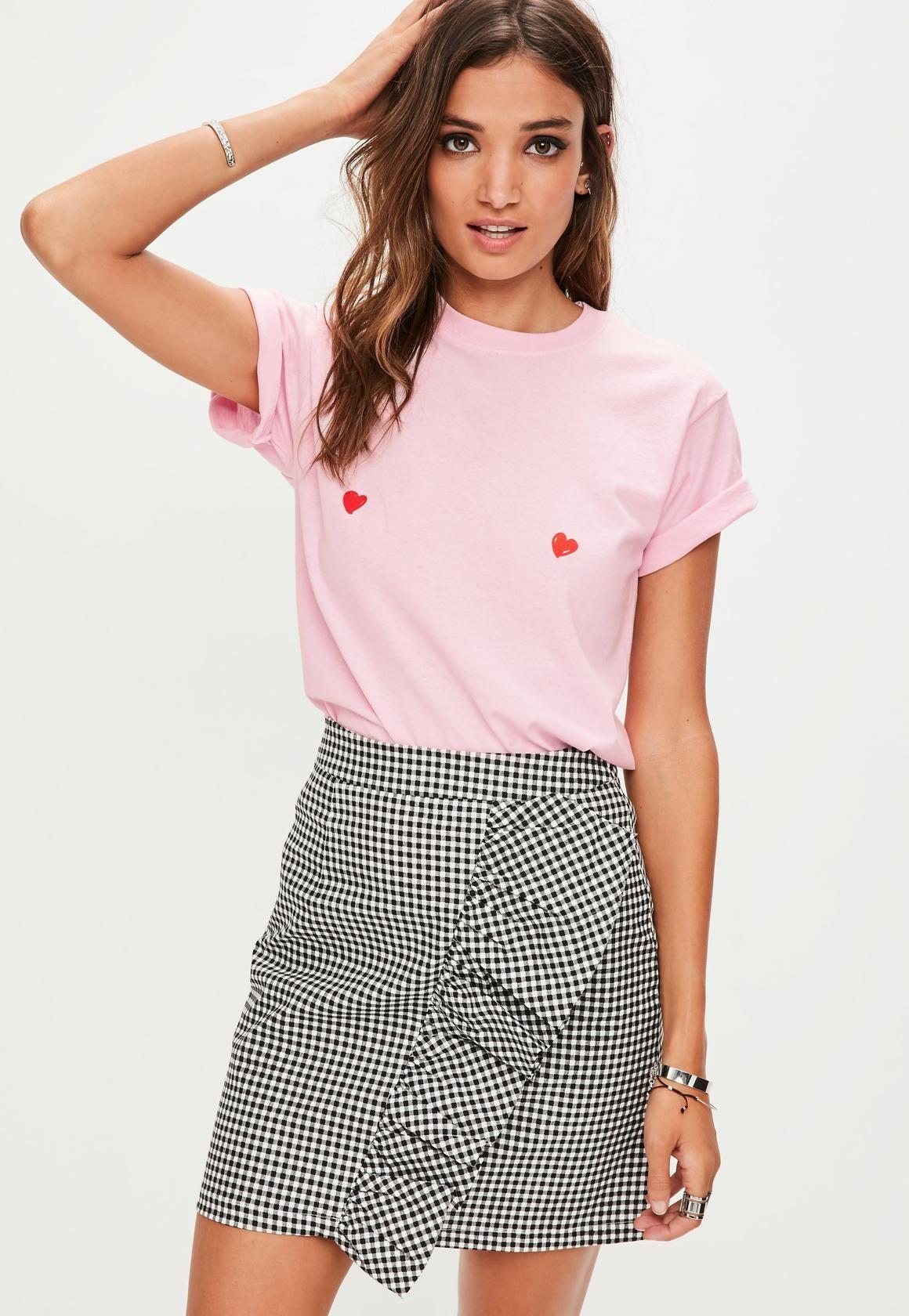 ae6dd9f62cd Pink Heart Nipple Printed T-Shirt | Missguided | want it | Shirts ...