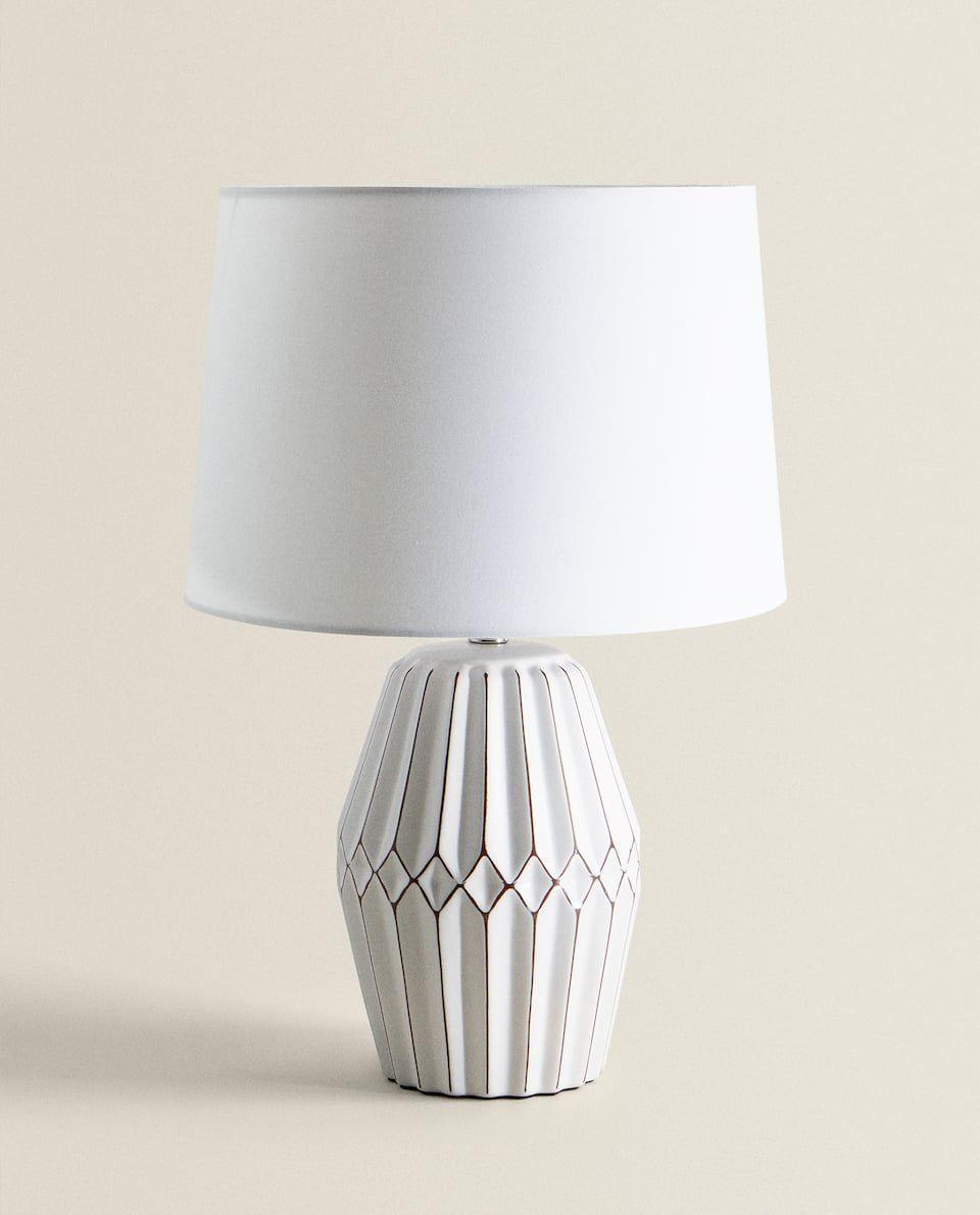 Lampara Ceramica Relieve Lamparas E Iluminacion Salon Zara Home Espana Lampor