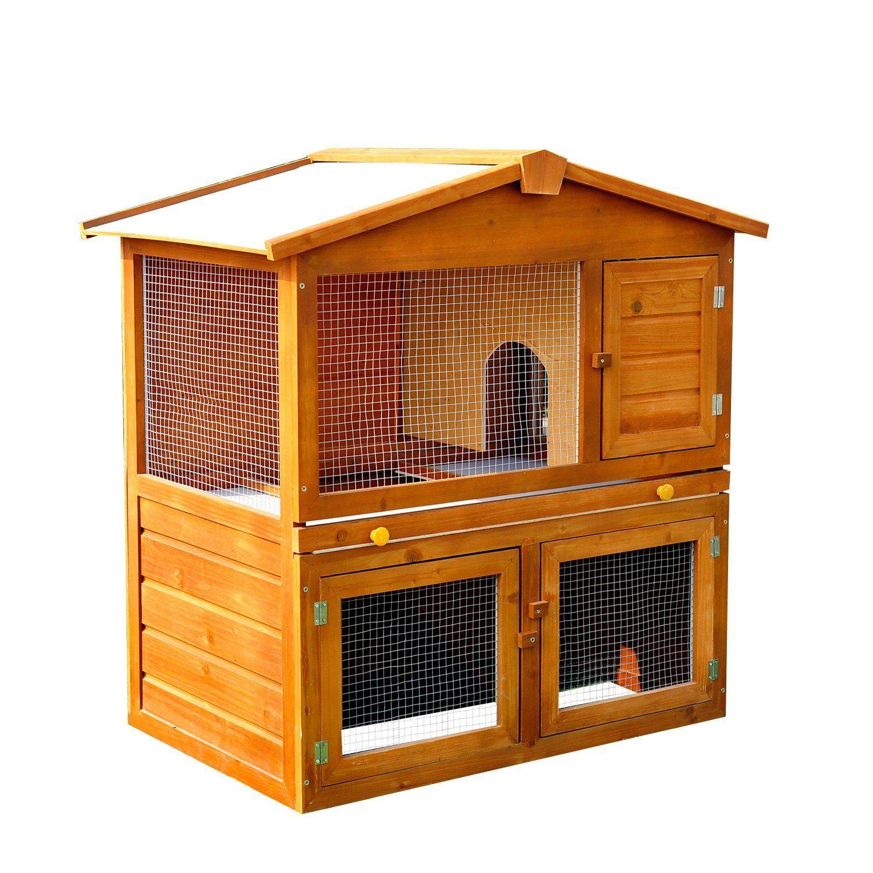 Photo of PawHut Wooden Rabbit Hutch House, Size (93.5x55x98 cm)