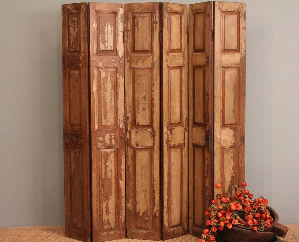 Room divider screen old wood folding rustic door panels