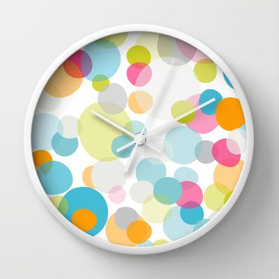 Multi Dots Wall Clock By Cally Creates   $30. Semi Transparent Layers Of  Happy Bubble Like Dots. (spots   Dots   Bubbles   Float   Space   Air    Gaseous ... Nice Design