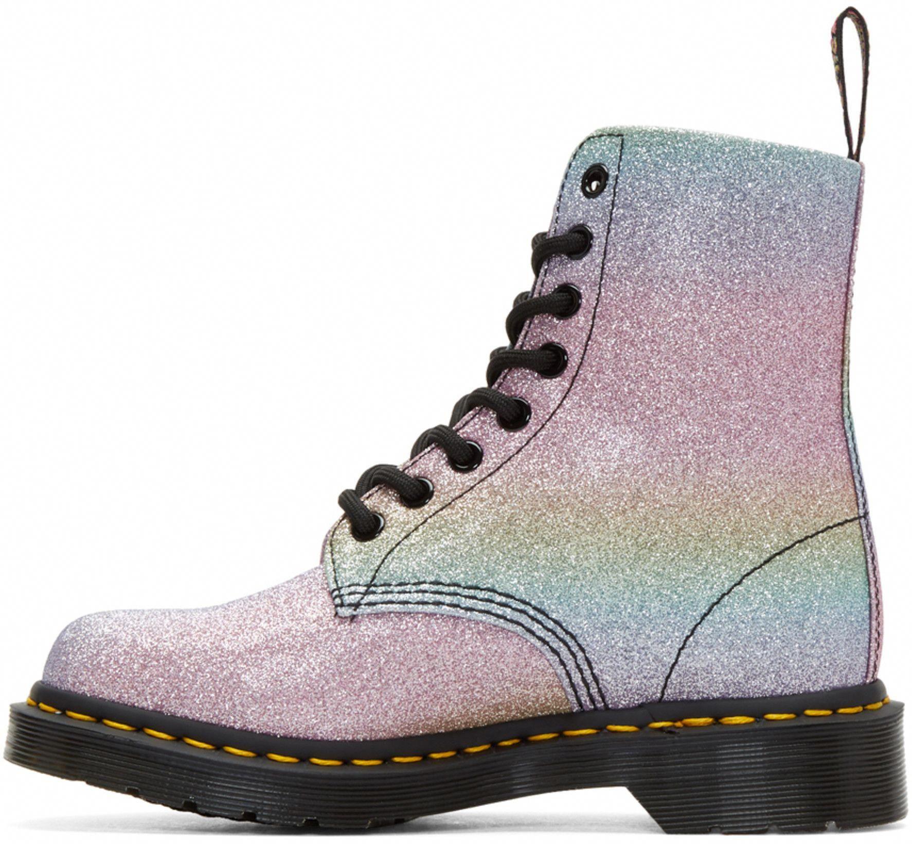 Multicolor Pascal Rainbow Glitter Boots