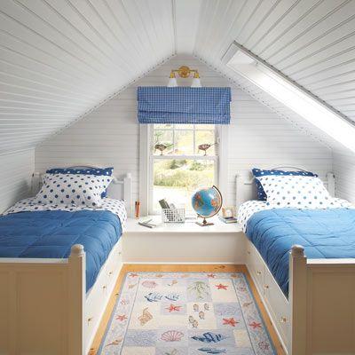 attic, bedroom, children's room, blue, white, window, ocean carpet, globe, boy's bedroom, interior design