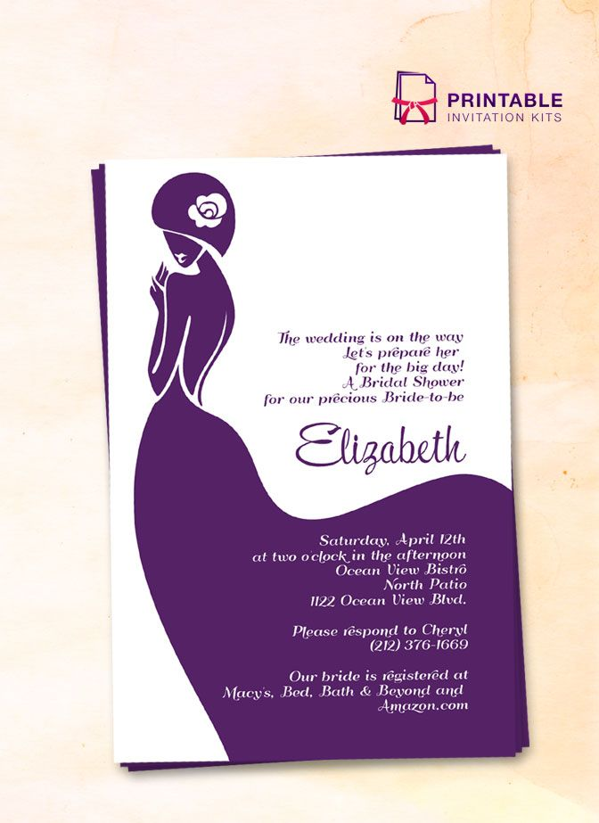 free pdf download lady bride bridal shower invitation easy to edit and print at home