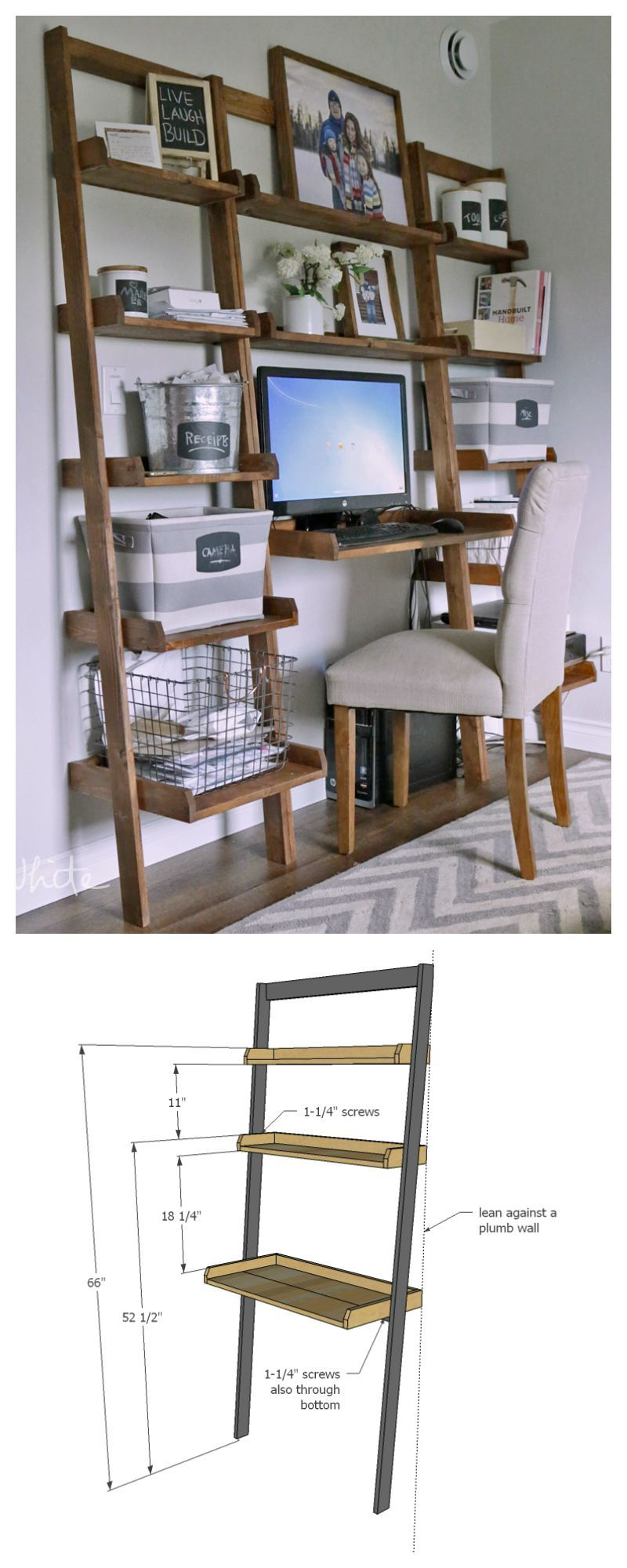 Leaning wall ladder desk diy pinterest wall ladders small
