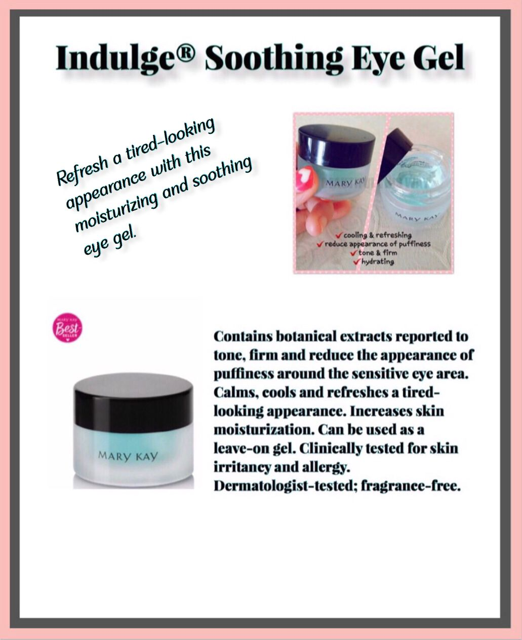 Put This Soothing Eye Gel In The Refrigerated For A Cooling Experience Mary Kay Eyes Eye Gel Mary Kay Skin Care