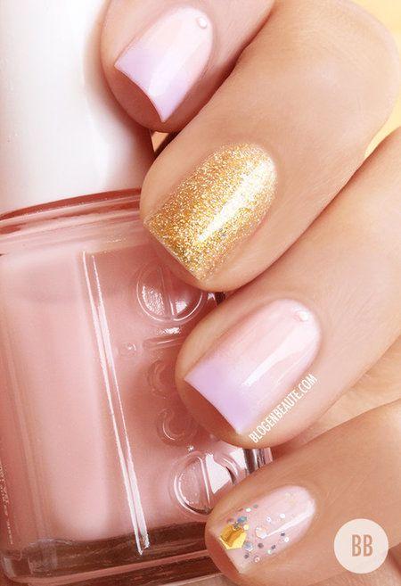 Ombre #Pink #gold #glitter nails bellashoot.com
