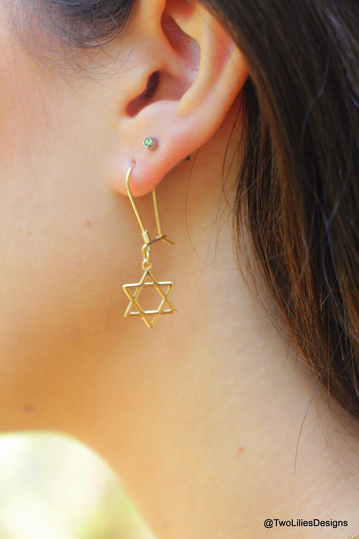 c657c65d3 Star of david earrings, 14K Gold Filled Magen David, Thin Gold star ...