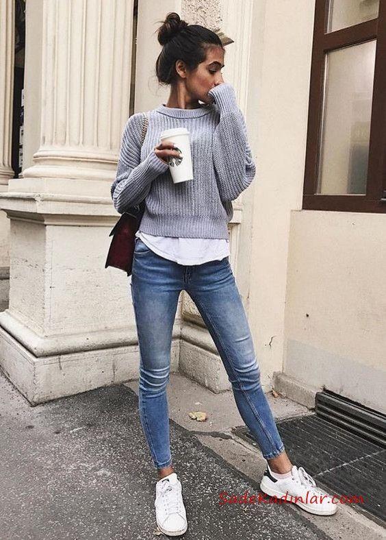 2020 Bayan Gömlek Kazak Kombinleri Mavi Yüksel Bel Skinny Pantolon Beyaz Gömlek Gri Kazak Beyaz Spor Ayakkabı