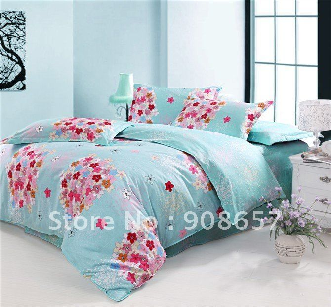 Fresh Blue Pink Flower Pattern Cotton Printed Duvet Quilt