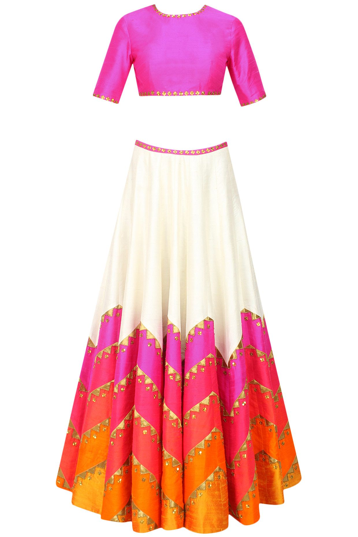 Priyal Prakash presents Ivory and shades of red and pink sequins embroidered lehenga set available only at Pernia's Pop Up Shop.