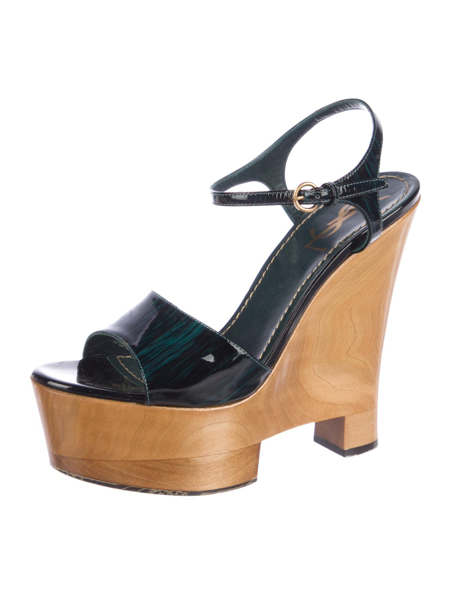 Yves Saint Laurent Patent Leather Wedge Sandals  Laurent  Saint  Yves c2e9356fd1