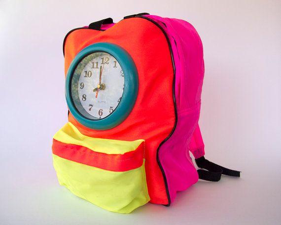 eea0275656ab Vintage 90s Neon Clock Backpack    1990s Color Block Dayglo Flavor Flav  Back to School Bag