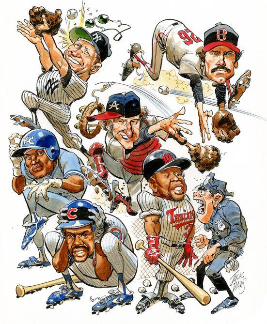 Jack Davis, Baseball Bloopers cover art. Watercolor & Ink