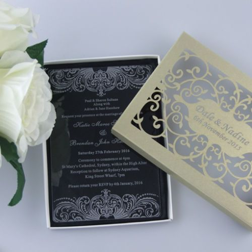 Cheap Unique Wedding Invitations: Details About Personalized Hollow Cut Acrylic Wedding