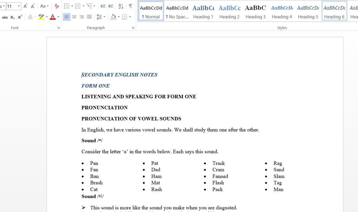 Form One English Class Notes pdf (for secondary schools