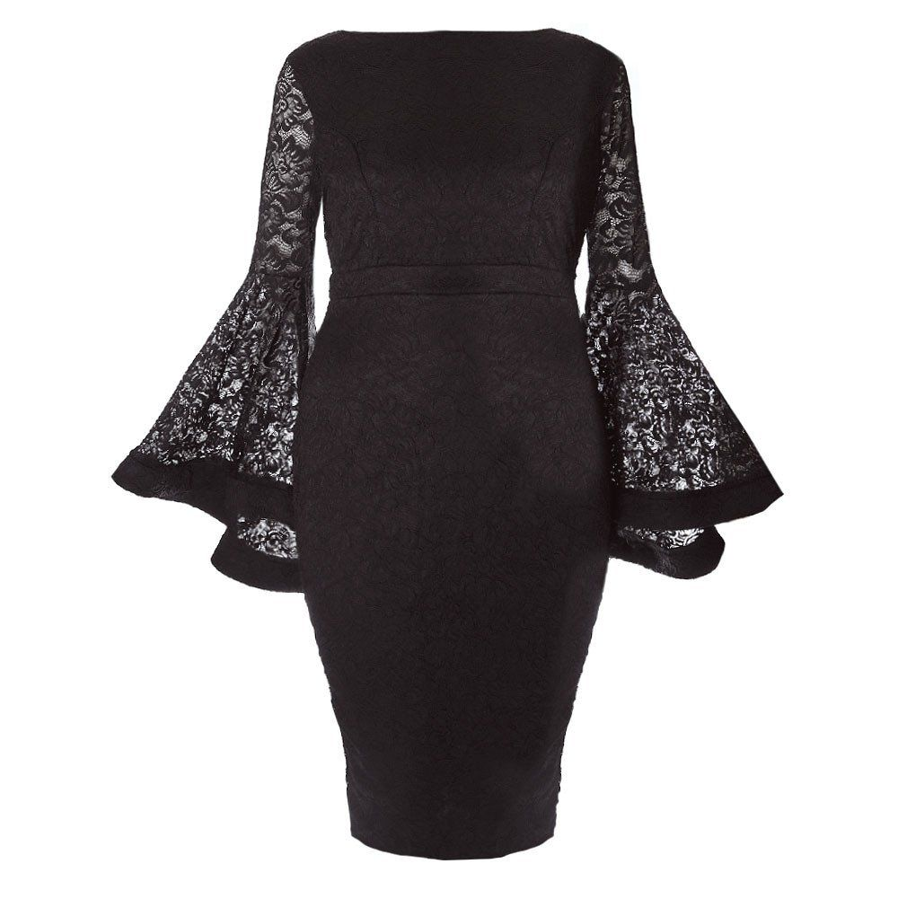 Plus Size Lace Bell Sleeve Midi Dress Black Cute