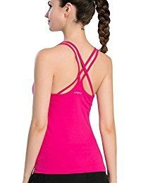158318be58 New Campeak Women s Solid Strap Cami With Built In Shelf Bra Workout Sport  Camisole Tank Top