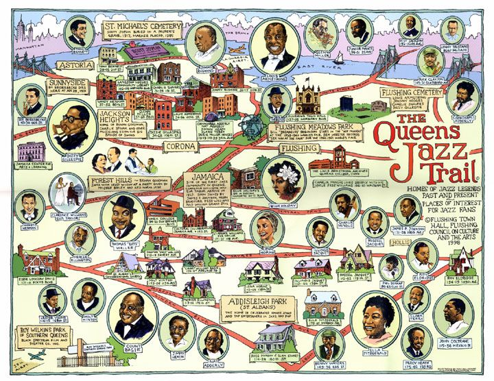 The Queens Jazz Trail Jazz Map Poster New York Illustration