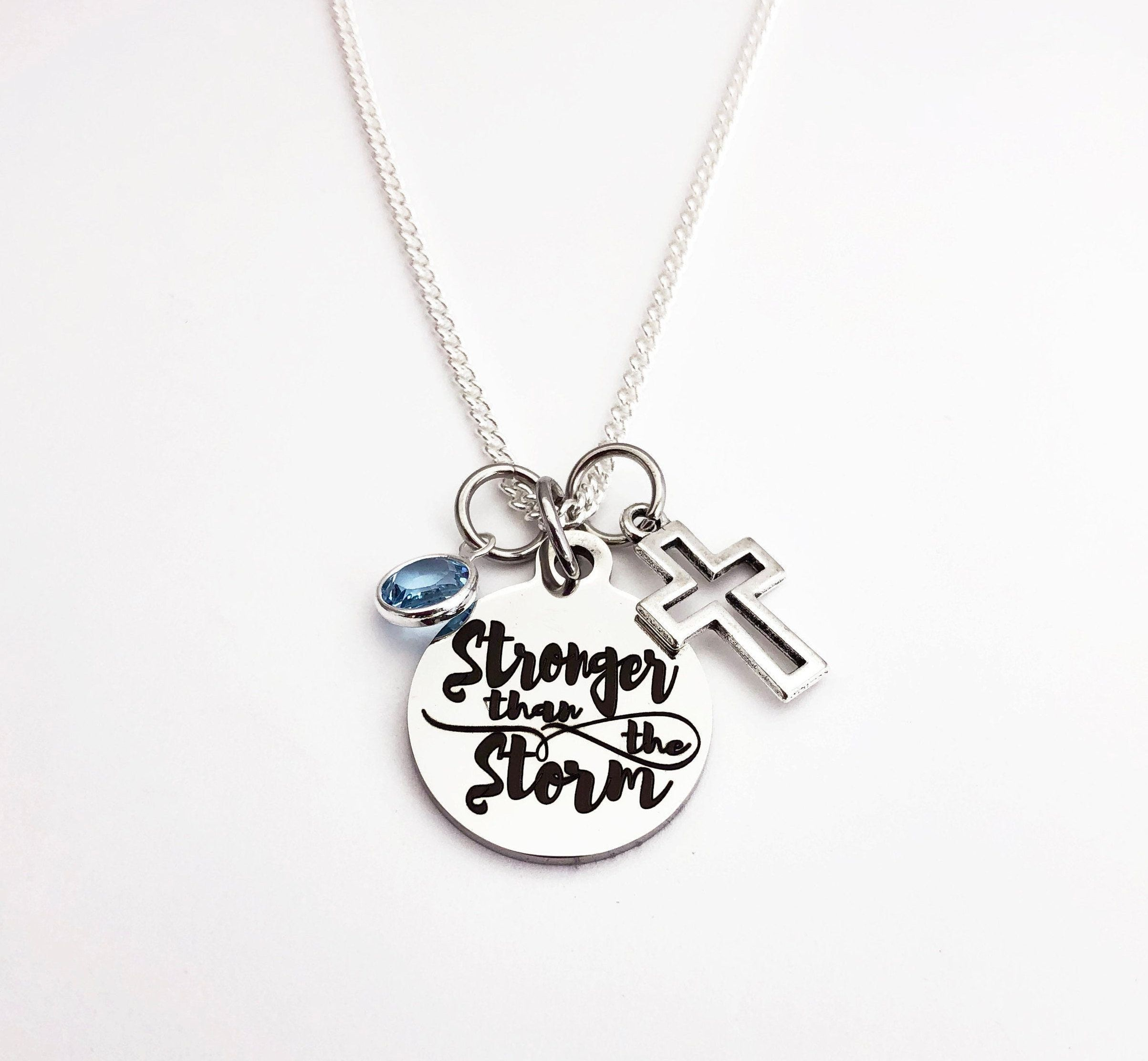Christian gifts stronger than the storm necklace for