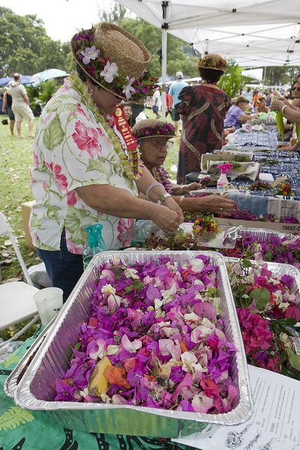 Flower Leis In Volcano Village Big Island