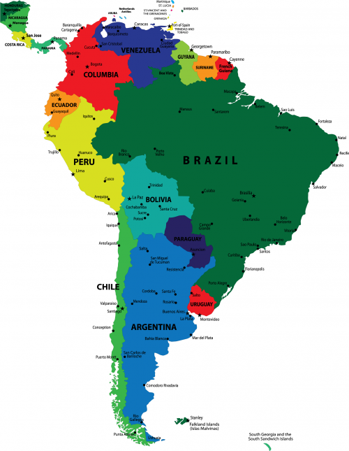 Map of the Continent of South America with Countries and Capitals